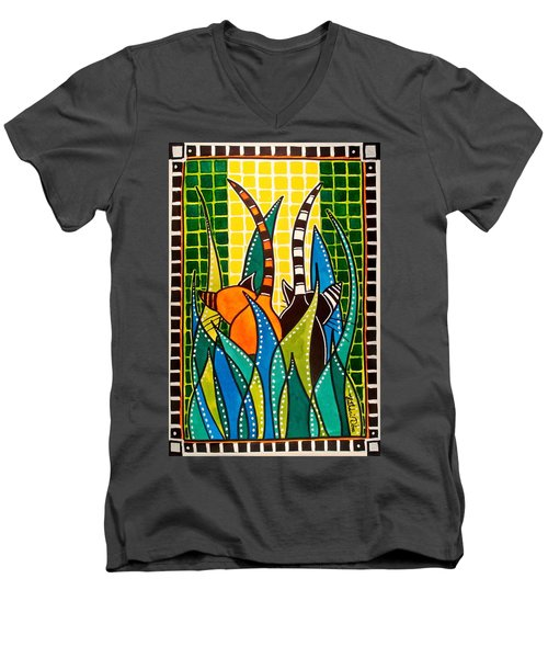 Men's V-Neck T-Shirt featuring the painting Hide And Seek - Cat Art By Dora Hathazi Mendes by Dora Hathazi Mendes
