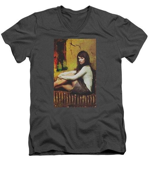 Men's V-Neck T-Shirt featuring the digital art Hideaway by Galen Valle