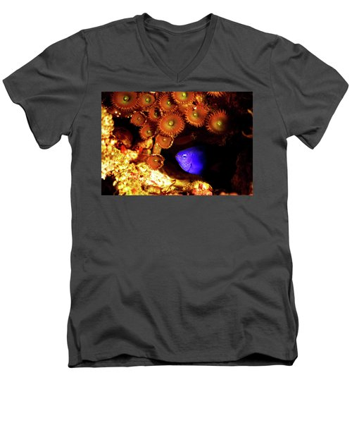 Men's V-Neck T-Shirt featuring the photograph Hiding Damsel by Anthony Jones