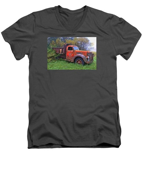 Men's V-Neck T-Shirt featuring the photograph Hiding In The Bushes by Susan Crossman Buscho