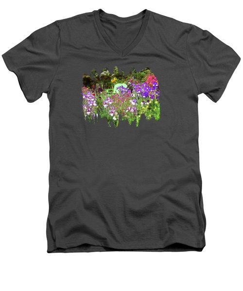 Men's V-Neck T-Shirt featuring the photograph Hiding In The Garden by Thom Zehrfeld