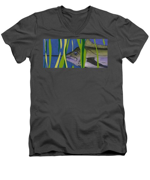 Men's V-Neck T-Shirt featuring the mixed media Hiding Spot by Andrew Drozdowicz