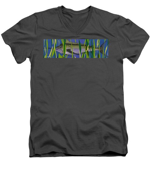 Men's V-Neck T-Shirt featuring the mixed media Hiding Spot2 by Andrew Drozdowicz