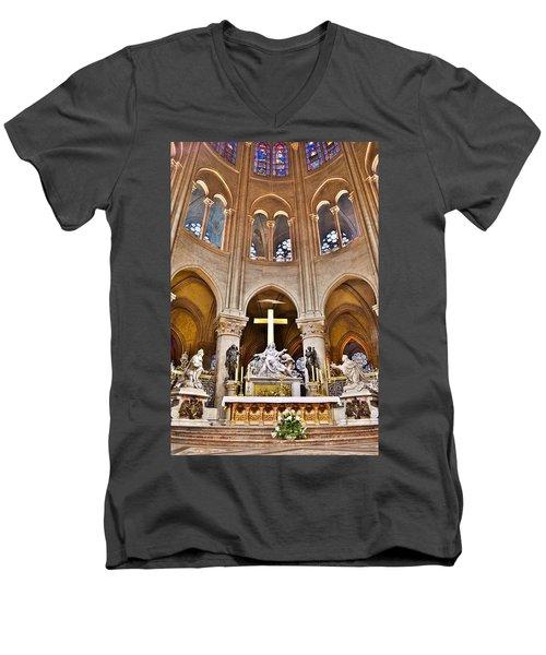 High Alter Notre Dame Cathedral Paris France Men's V-Neck T-Shirt