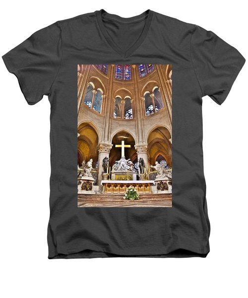 High Alter Notre Dame Cathedral Paris France Men's V-Neck T-Shirt