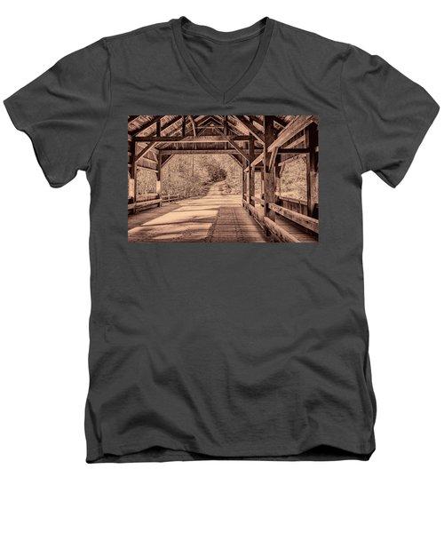 High Falls Covered Bridge Men's V-Neck T-Shirt