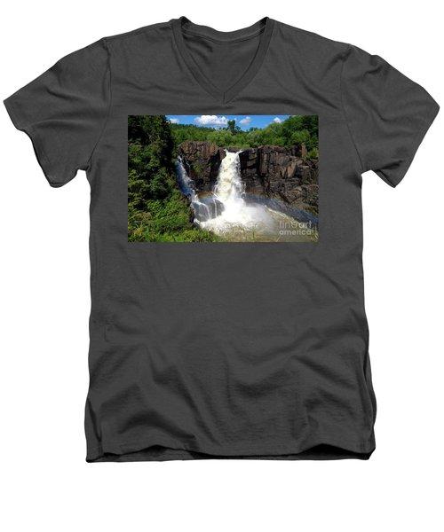 High Falls On Pigeon River Men's V-Neck T-Shirt