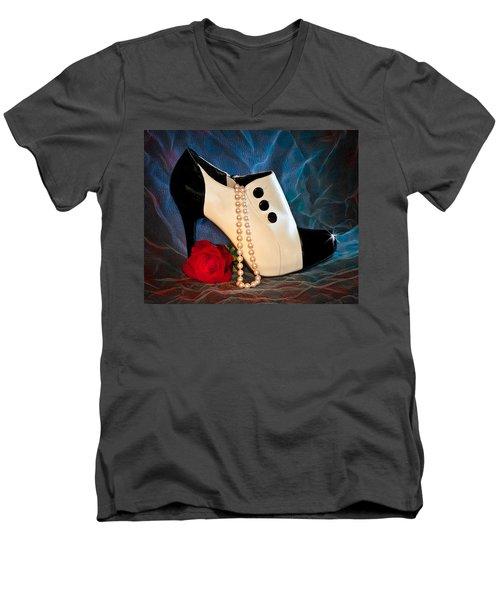 High Heel Spat Bootie Shoe Men's V-Neck T-Shirt