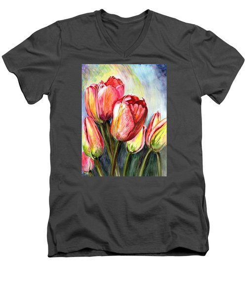 Men's V-Neck T-Shirt featuring the painting High In The Sky by Harsh Malik