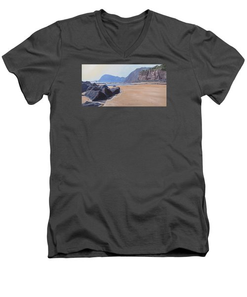 Men's V-Neck T-Shirt featuring the painting High Peak Cliff Sidmouth by Lawrence Dyer