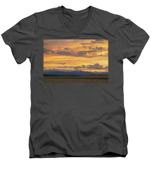 Men's V-Neck T-Shirt featuring the photograph High Plains Meet The Rocky Mountains At Sunset by James BO Insogna