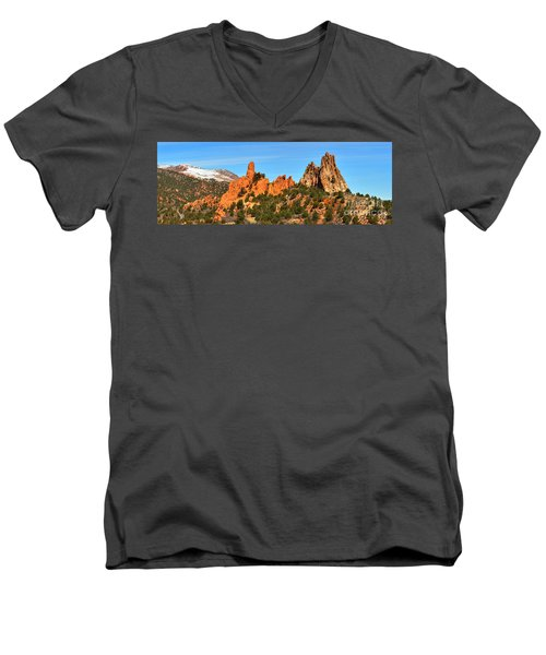 Men's V-Neck T-Shirt featuring the photograph High Point Panorama At Garden Of The Gods by Adam Jewell
