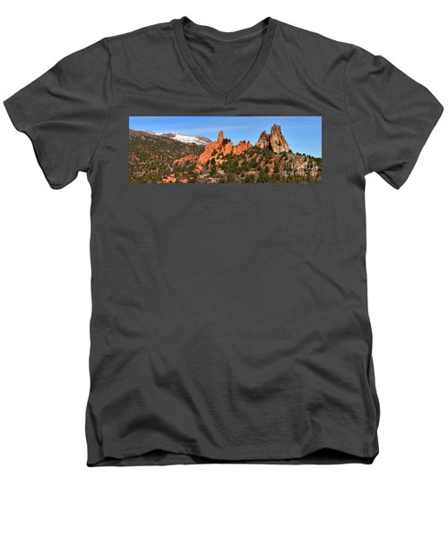 Men's V-Neck T-Shirt featuring the photograph High Point View by Adam Jewell