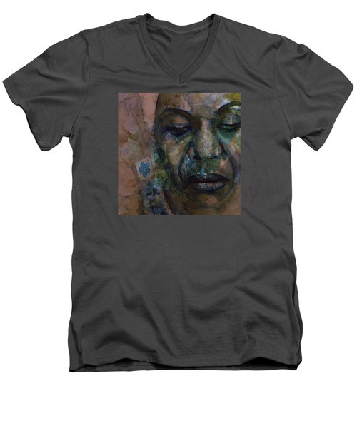 Men's V-Neck T-Shirt featuring the painting High Priestess Of Soul  by Paul Lovering