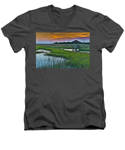 Men's V-Neck T-Shirt featuring the photograph High Tide On The Creek - Mt. Pleasant Sc by Donnie Whitaker