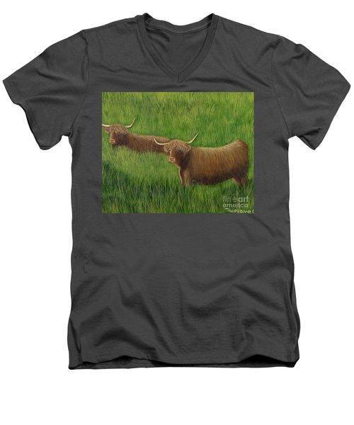 Highland Cows Men's V-Neck T-Shirt