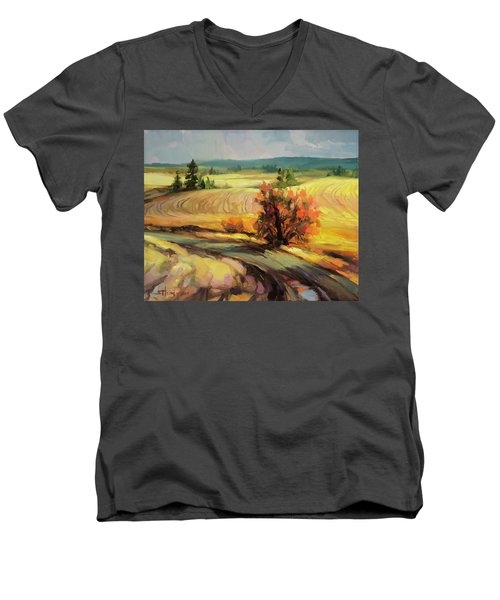 Men's V-Neck T-Shirt featuring the painting Highland Road by Steve Henderson