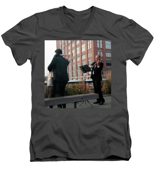 Men's V-Neck T-Shirt featuring the photograph Highline Serenade by Madeline Ellis