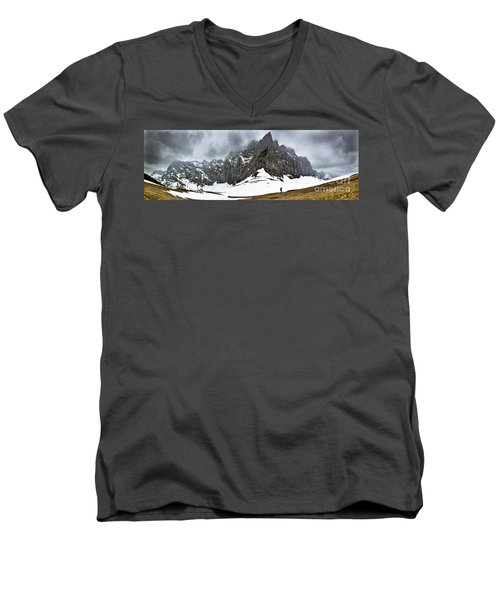 Men's V-Neck T-Shirt featuring the photograph Hiking In The Alps by John Wadleigh