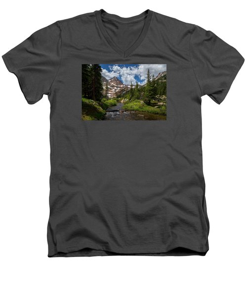Hiking Into A High Alpine Lake Men's V-Neck T-Shirt