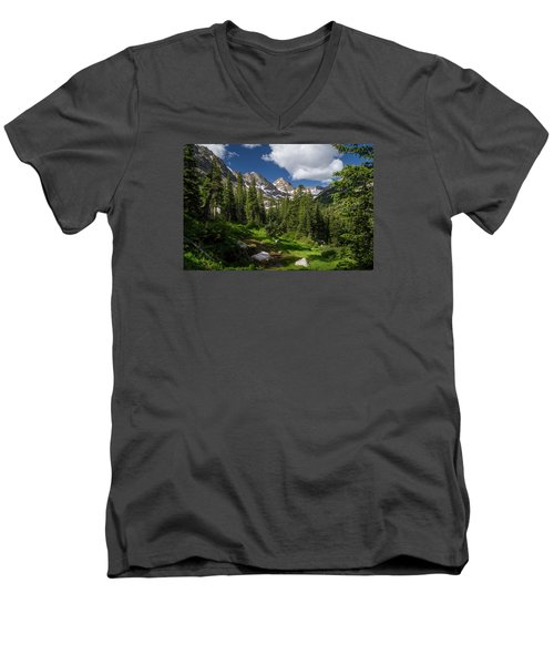 Hiking Into The Gore Range Mountains Men's V-Neck T-Shirt