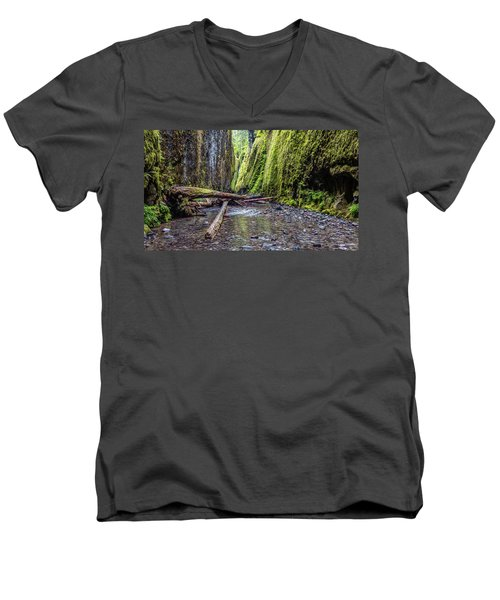 Hiking Oneonta Gorge Men's V-Neck T-Shirt by Pierre Leclerc Photography