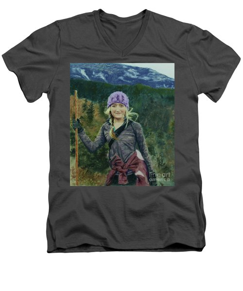 Hiking The White Mountains Men's V-Neck T-Shirt