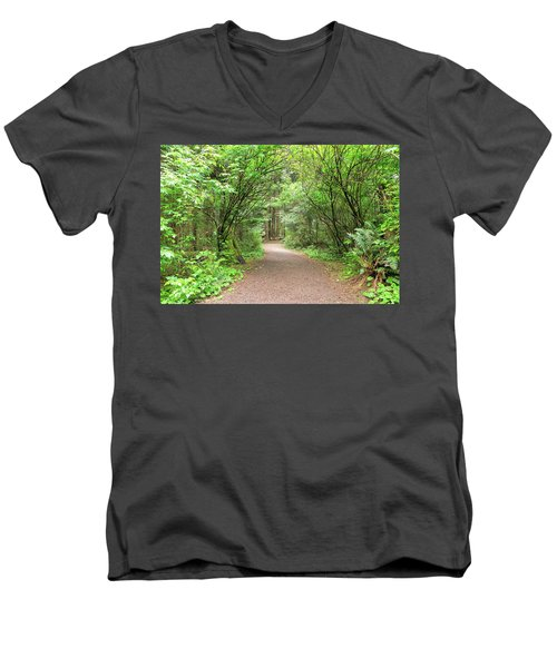 Hiking Trail Along Lewis And Clark River Men's V-Neck T-Shirt