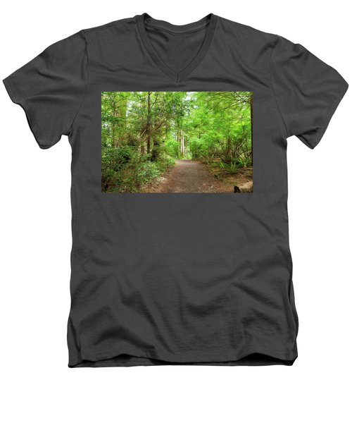 Hiking Trail Through Forest Along Lewis And Clark River Men's V-Neck T-Shirt