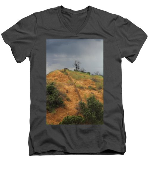 Hill Divided By Fence Men's V-Neck T-Shirt