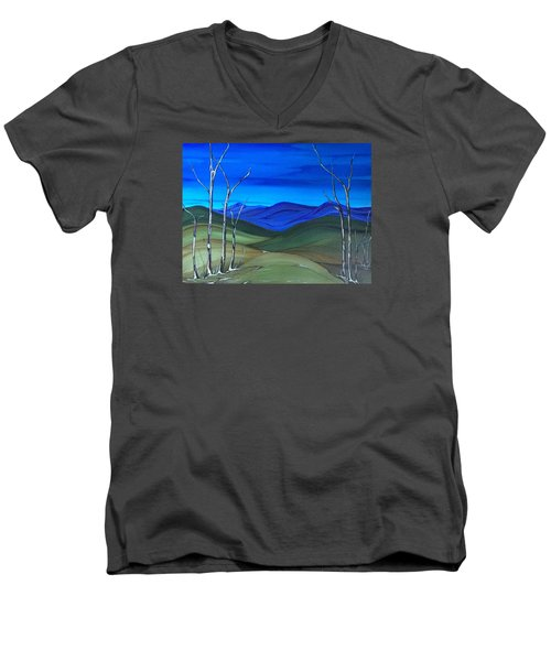 Hill View Men's V-Neck T-Shirt by Pat Purdy