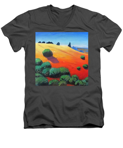 Men's V-Neck T-Shirt featuring the painting Hills And Beyond by Gary Coleman