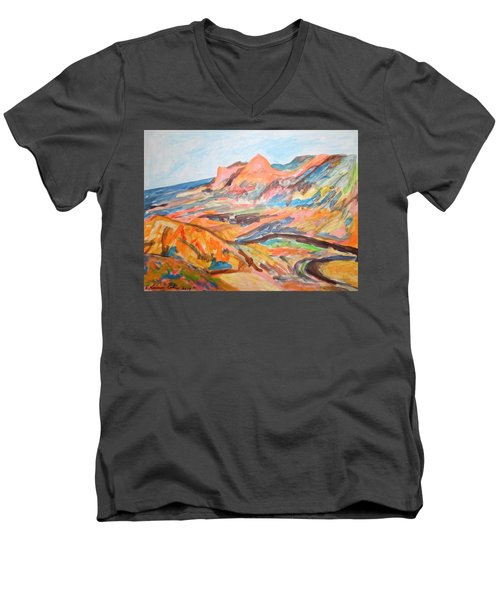 Hills Flowing Down To The Beach Men's V-Neck T-Shirt by Esther Newman-Cohen
