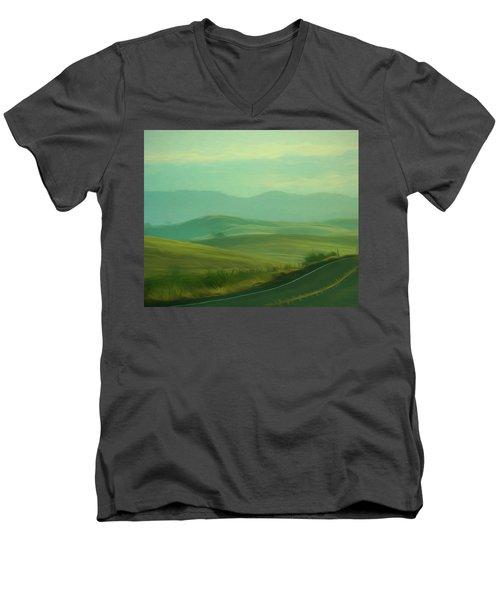 Hills In The Early Morning Light Digital Impressionist Art Men's V-Neck T-Shirt