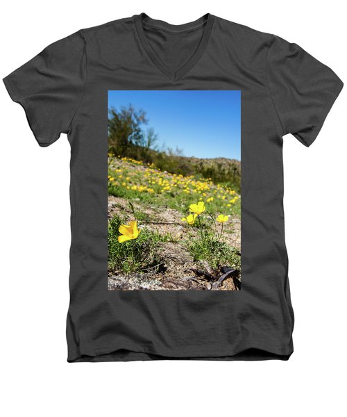 Hillside Flowers Men's V-Neck T-Shirt by Ed Cilley