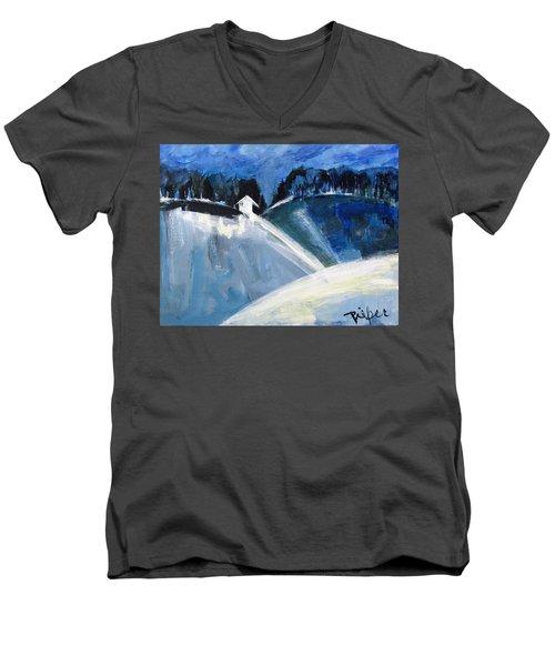 Hillside In Winter Men's V-Neck T-Shirt