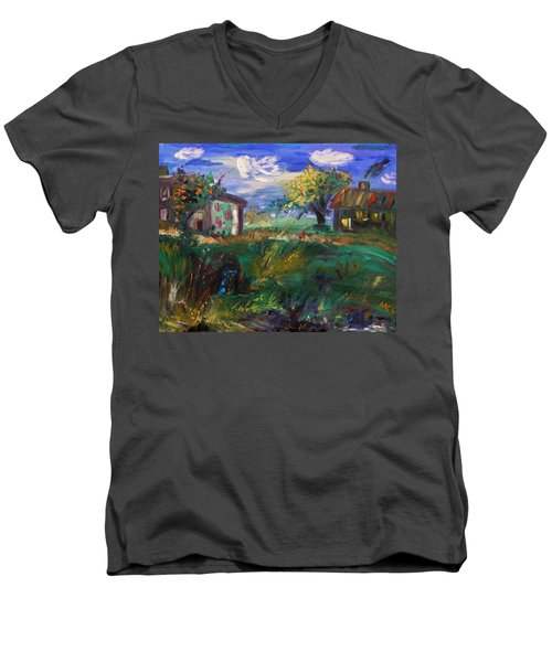 Men's V-Neck T-Shirt featuring the painting Hillside Tranquility by Mary Carol Williams