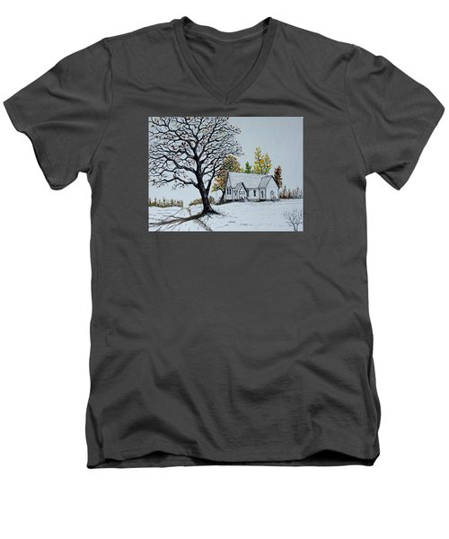 Men's V-Neck T-Shirt featuring the painting Hilltop Church by Jack G  Brauer