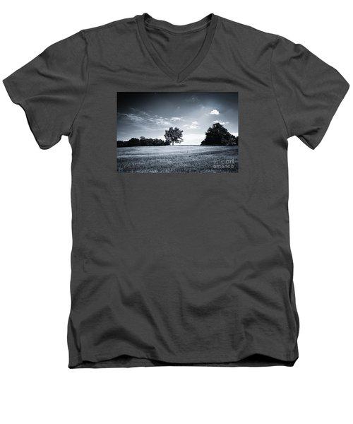 Hilly Black White Landscape Men's V-Neck T-Shirt