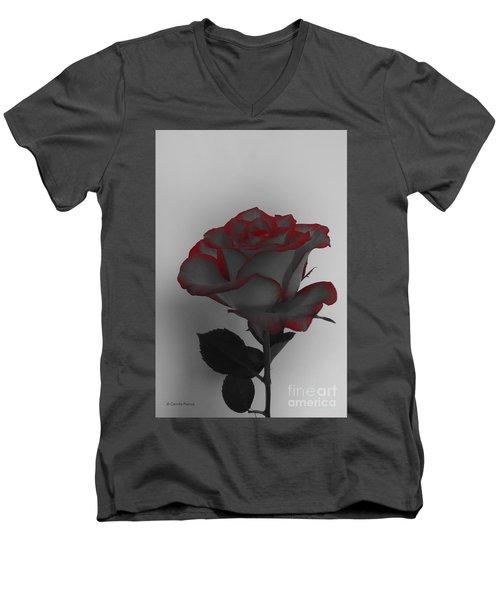 Hints Of Red- Single Rose Men's V-Neck T-Shirt