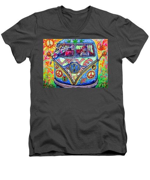 Hippie Men's V-Neck T-Shirt by Viktor Lazarev