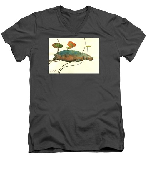 Hippo Swimming With Water Lilies Men's V-Neck T-Shirt by Juan  Bosco