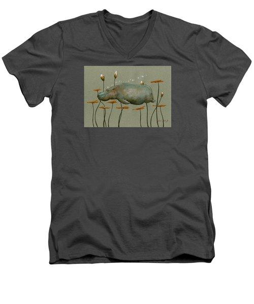 Hippo Underwater Men's V-Neck T-Shirt by Juan  Bosco
