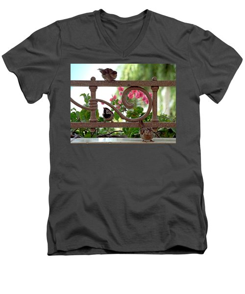 His Eye Is On The Sparrow Men's V-Neck T-Shirt by Marie Hicks