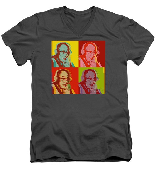 Men's V-Neck T-Shirt featuring the digital art His Holiness The Dalai Lama Of Tibet by Jean luc Comperat