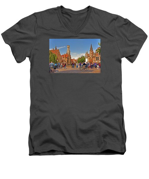 Historic Bruges Men's V-Neck T-Shirt by Dennis Cox WorldViews
