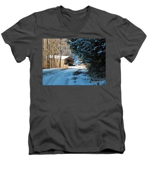 Historic Grist Mill Covered Bridge Men's V-Neck T-Shirt