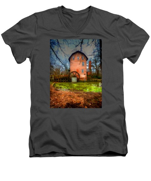 Historic Grist Mill In Hobart, In Men's V-Neck T-Shirt