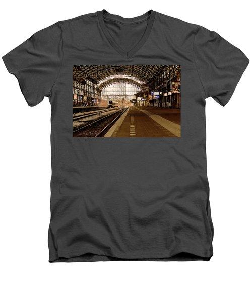 Historic Railway Station In Haarlem The Netherland Men's V-Neck T-Shirt by Yvon van der Wijk