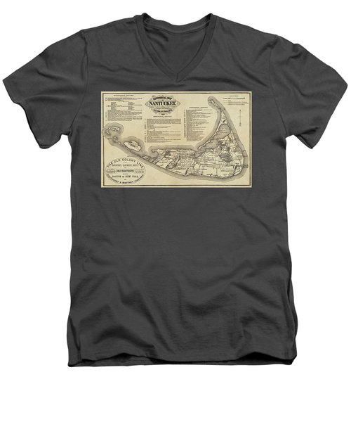 Historical Map Of Nantucket From 1602-1886 Men's V-Neck T-Shirt